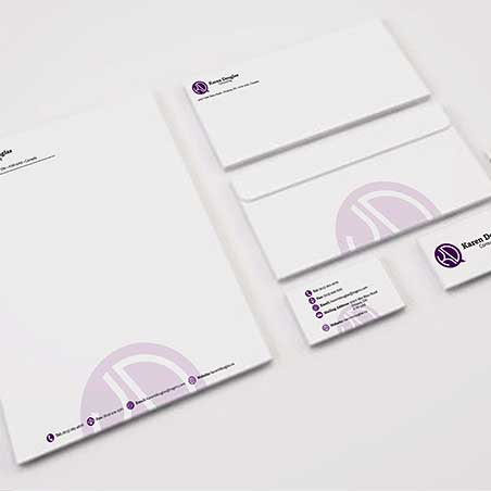 A stationary mockup of Karen Douglas Consulting
