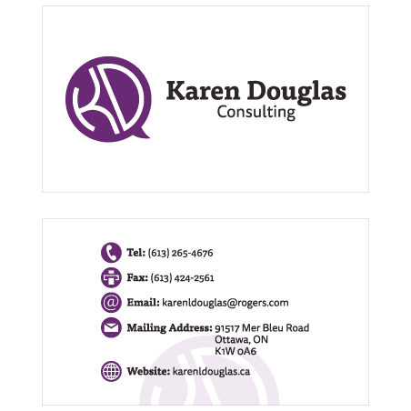 Layout of Karen Douglas Consulting's logo on her business card