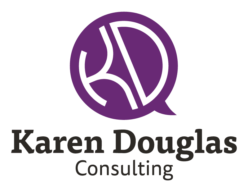 The final colour version of Karen Douglas Consulting's logo with wordmark